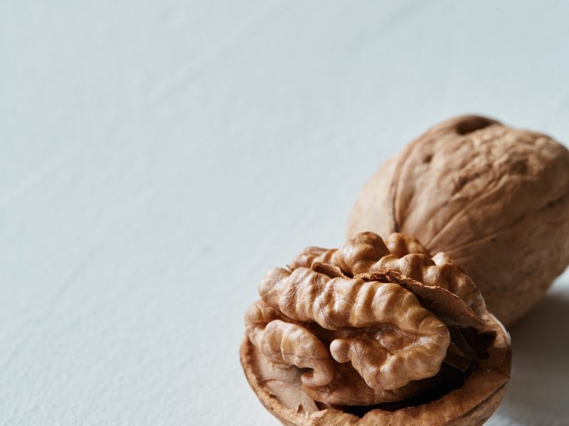 Walnut and kernel on a white rustic backdrop